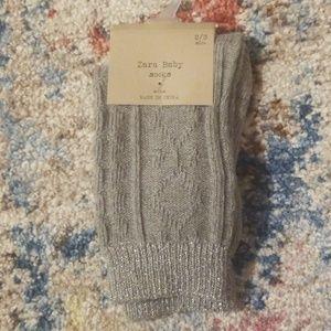 Zara toddler socks grey with metallic silver trim